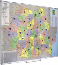 Harta Romania Magnetica Adm Rutiera 100x140cm